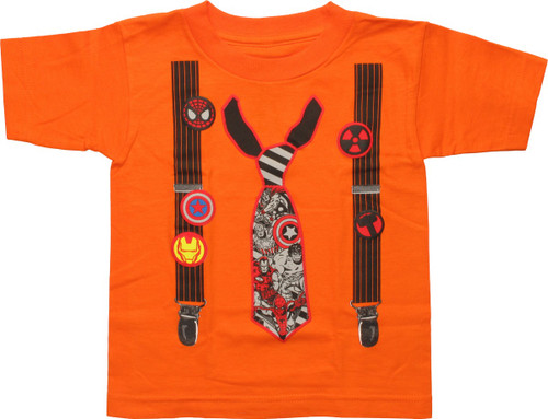Marvel Suspenders Pins and Tie Toddler T-Shirt