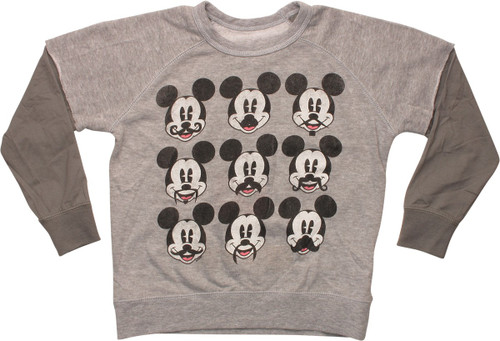 Mickey Mouse Mustaches Grid Juvenile Sweatshirt