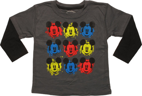 Mickey Mouse Ink Blot Faces LS Toddler T-Shirt