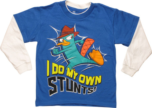 Phineas and Ferb Perry Stunts LS Juvenile T-Shirt