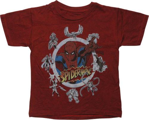 Spiderman Villain Circle Juvenile T-Shirt