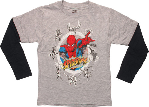 Spiderman Villains Circle LS Juvenile T-Shirt