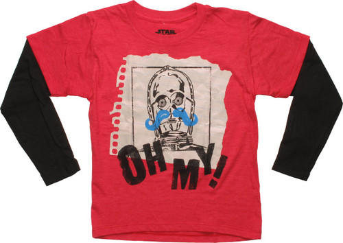 Star Wars C-3PO Mustache Oh My LS Juvenile T-Shirt
