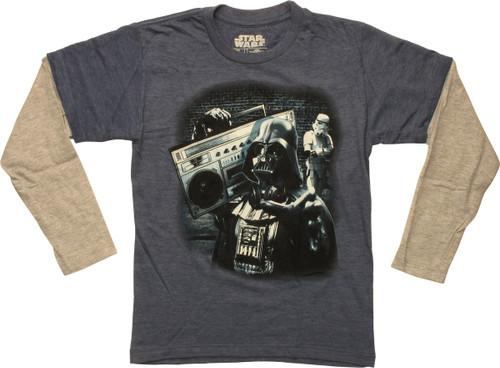 Star Wars Darth Vader Boom Box LS Juvenile T-Shirt