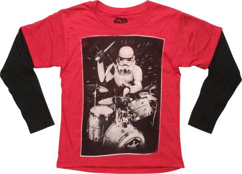 Star Wars Stormtrooper Drums LS Juvenile T-Shirt