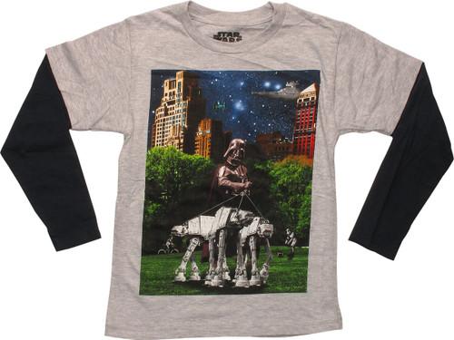 Star Wars Vader Walking AT-ATs LS Juvenile T-Shirt