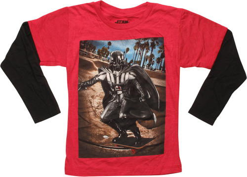 Star Wars Vader Skateboarding LS Juvenile T-Shirt