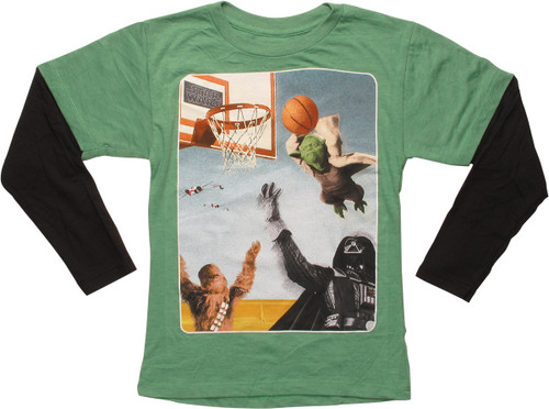 Star Wars Yoda Slam Dunk LS Juvenile T-Shirt