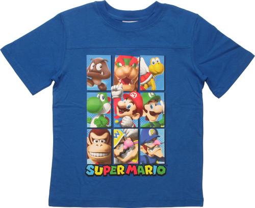 Super Mario 9 Character Squares Juvenile T-Shirt