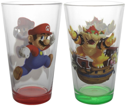 Mario and King Koopa Pint Glass Set