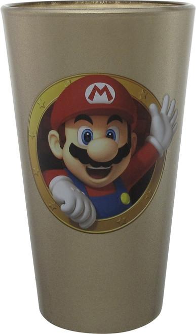 Mario and Luigi Metallic Gold Pint Glass