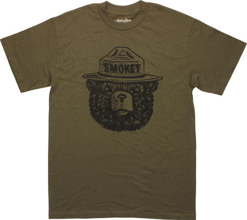 Smokey Bear Head Olive Green Mighty Fine T-Shirt