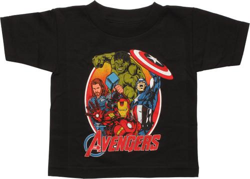 Avengers Heroes Oval Black Toddler T-Shirt