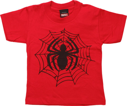 Spiderman Black Spider Logo on Web Toddler T-Shirt