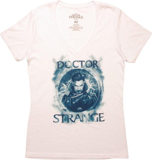 Dr Strange Blue Smoke Spell V Neck Juniors T-Shirt