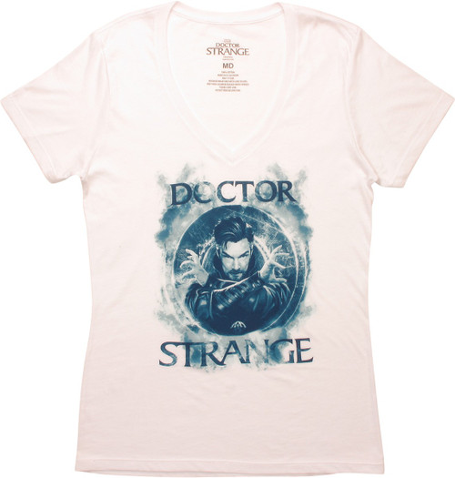 Dr Strange Blue Smoke Spell V Neck Juniors T-Shirt
