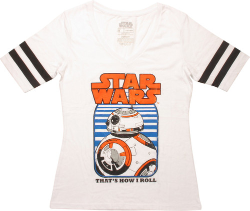 Star Wars BB-8 Roll Jersey V Neck Juniors T-Shirt