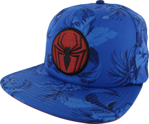 Spiderman Logo Floral Sublimated Buckle Hat