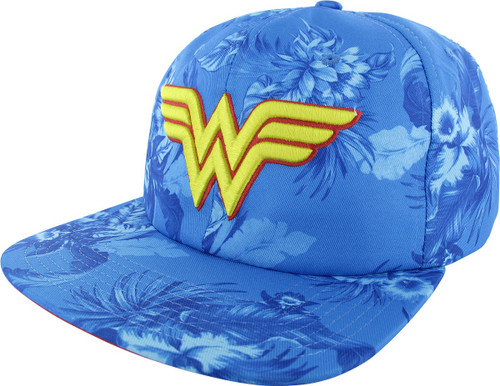 Wonder Woman Logo Floral Sublimated Buckle Hat