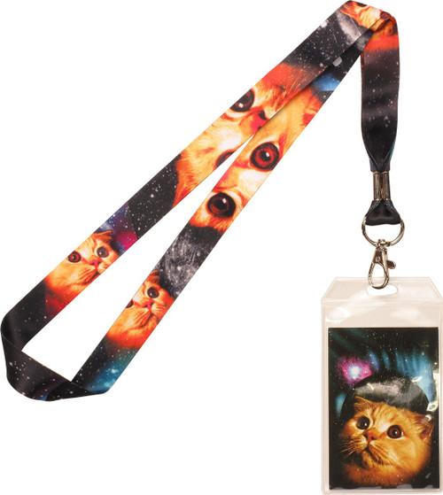 Space Cat Orange Lanyard