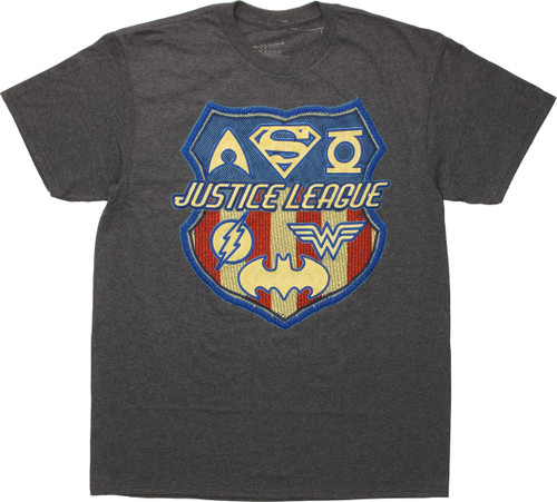 Justice League Raised Logos T-Shirt