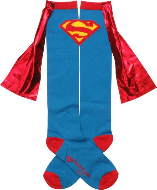 Superman Shiny Logo Caped Knee High Socks