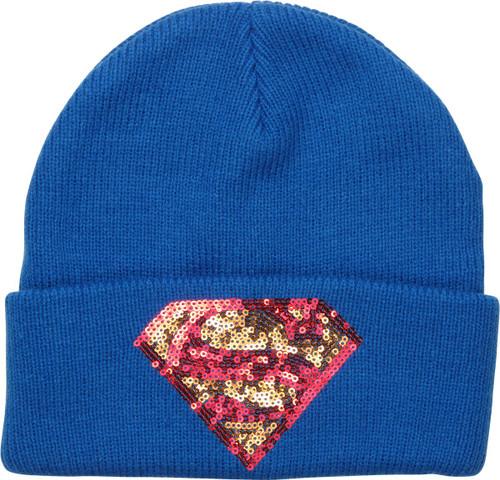 Supergirl Sequins Logo Cuff Beanie