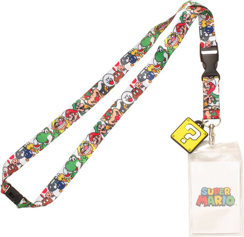 Mario Character Collage Charm Lanyard