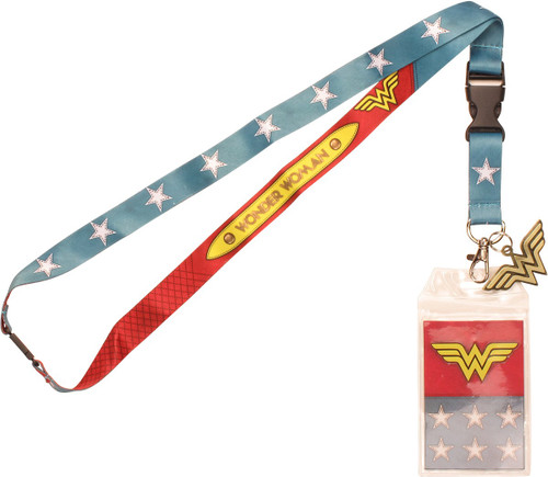 Wonder Woman Suit Up Metal Logo Charm Lanyard