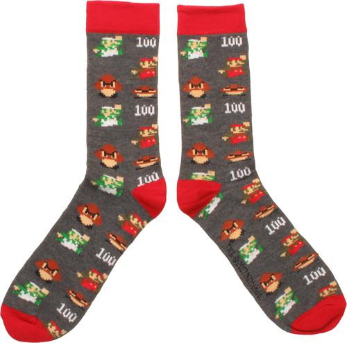 Mario Luigi 8 Bit Crew Socks
