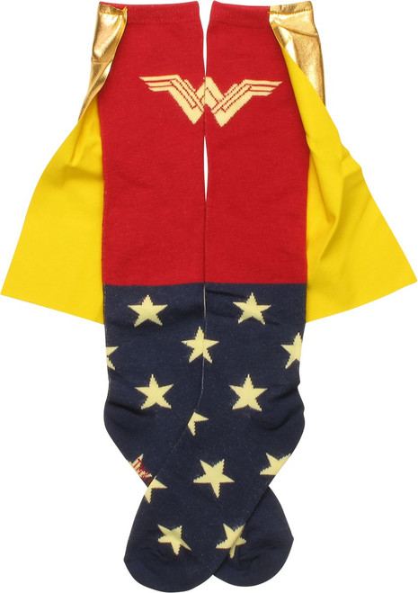 Wonder Woman Gold Caped Knee High Socks