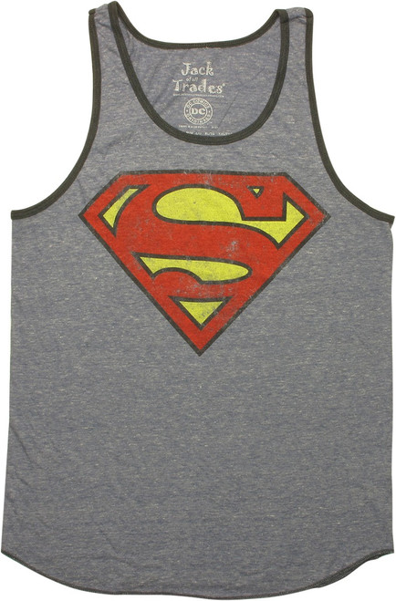 Superman Vintage Logo Ringer Tank Top