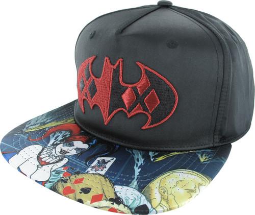 Harley Quinn Bat Symbol Snapback Hat