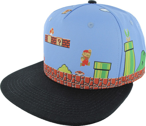 Mario 8 Bit Scene Sublimated Snapback Hat
