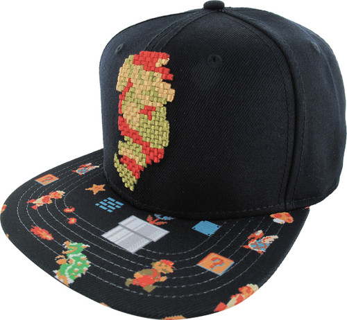 Mario 8 Bit Stitch Sublimated Snapback Hat