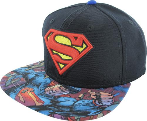 Superman Logo Sublimated Visor Snapback Hat