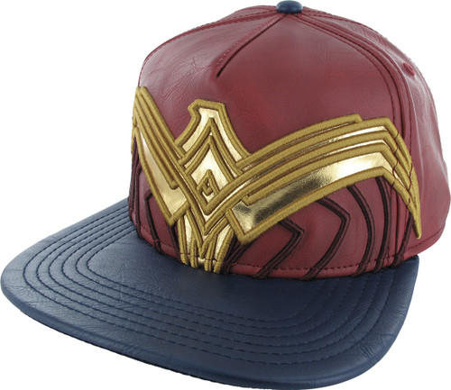 Wonder Woman Large Logo Faux Leather Snapback Hat