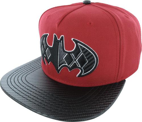Harley Quinn Bat Logo Carbon Snapback Hat