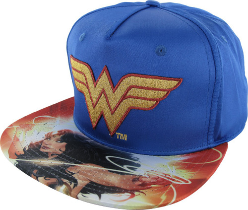 Wonder Woman Shiny Logo Sublimated Snapback Hat