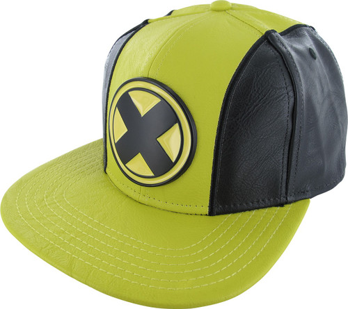 X Men Metal Logo Faux Leather Snapback Hat