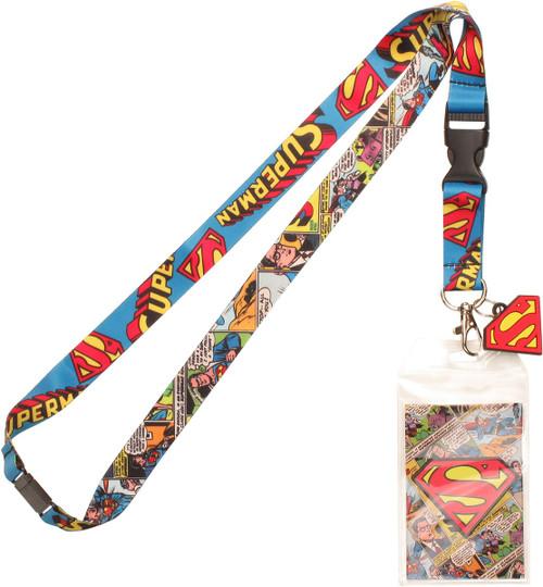 Superman Comic Strip Logo Charm Lanyard