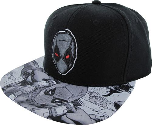Deadpool Gray Mask Sublimated Visor Snapback Hat