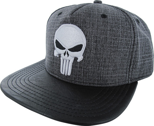 Punisher Heather Embroidered Logo Snapback Hat