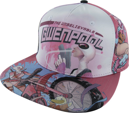 Gwenpool Sublimated All Over Snapback Hat