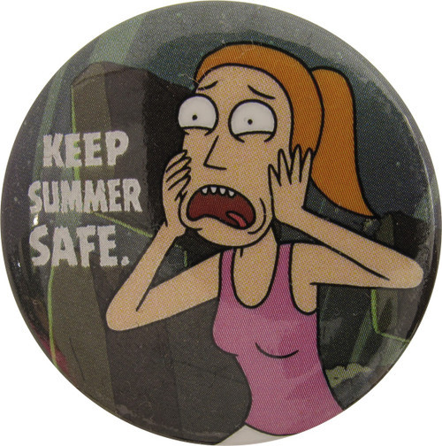 Rick and Morty Keep Summer Safe Button