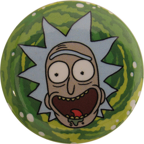 Rick and Morty Rick Smiling in Portal Button