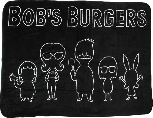 Bob's Burgers Group Line Silhouette Fleece Blanket