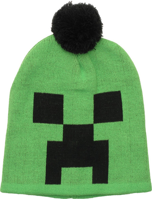 cd027ec0a97 Minecraft Creeper Face Pom Beanie