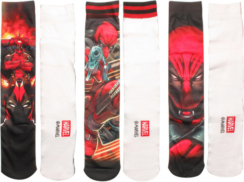 Deadpool Sublimated Scenes Crew 3 Pair Socks Set