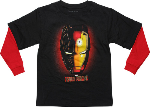 Iron Man 3 Helmet Red Long Sleeves Youth T-Shirt
